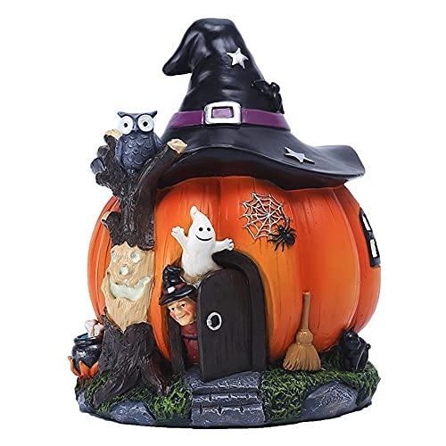 NiceJoy Halloween Theme Ornament Harz Kürbis Mit Ghost House Halloween Kürbis Ghost Figuren...