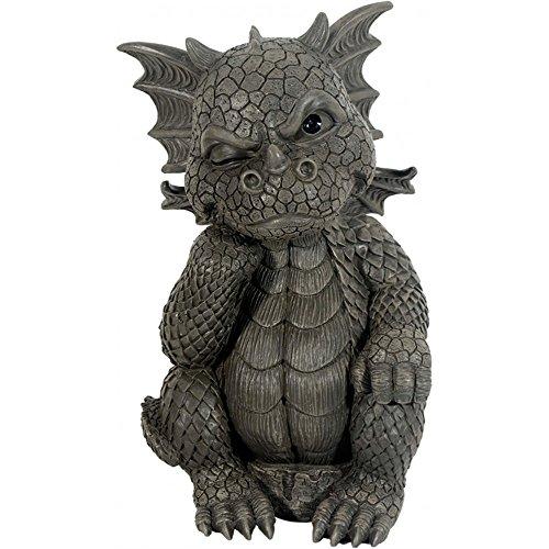 Süsser Gartendrache Der Denker Drache Figur Gartenfigur 26 cm
