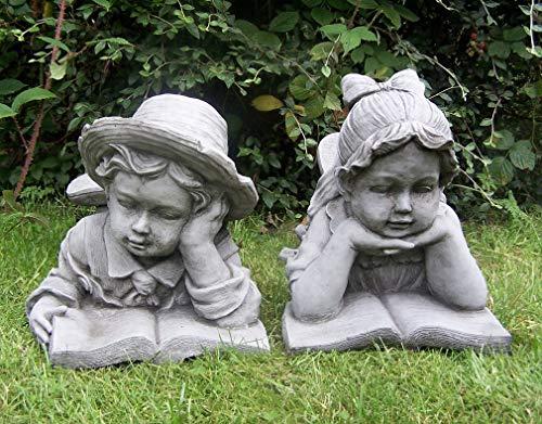 Garden Mile® Stein-Effekt Garten Ornamente Skulpturen, Paar Jungen & Mädchen Statuen |...