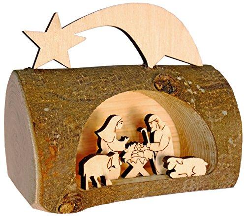 Kaltner Präsente Geschenkidee - Weihnachten Krippe aus Holz mit Jesus, Maria und Kind in einem...