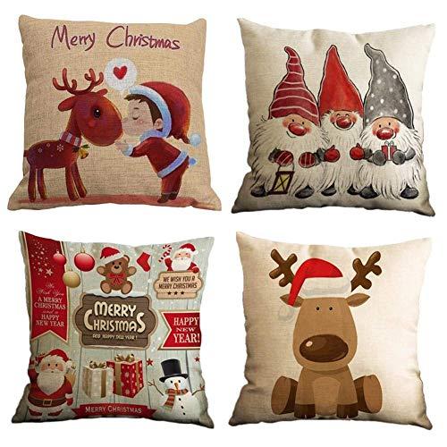 Gspirit 4 Stück Kissenbezug Frohe Weihnachten Dekorative Kissenhülle Winter Zwerge Elk...