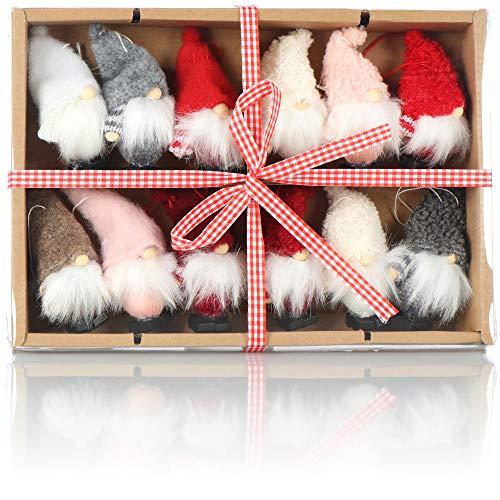 com-four® 12x Premium Weihnachtsmann-Anhänger für den Weihnachtsbaum, Verschiedene...