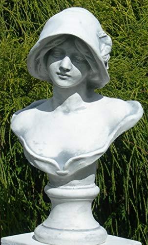 Unbekannt Skulptur Figur Büste Frau mit Hut grau patiniert Höhe 39 cm Gartenskulptur aus Beton...