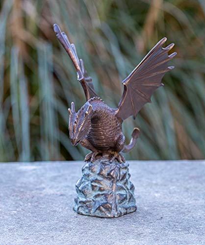 IDYL Bronze-Skulptur Wasserspeiender Drache Fontaine | 14x17x22 cm | Drachen Bronze-Figur | Ideal...