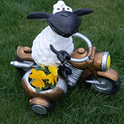 FDSt Schaf,Molly auf Motorrad,zum Bepflanzen,Tierfigur,Deko,Garten,Terrasse