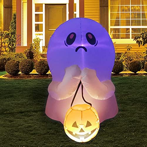 STLOVe Aufblasbare Halloween-Figur, bunt, dimmbar, LED-Licht, Geist, hält Kürbis, aufblasbar, für...