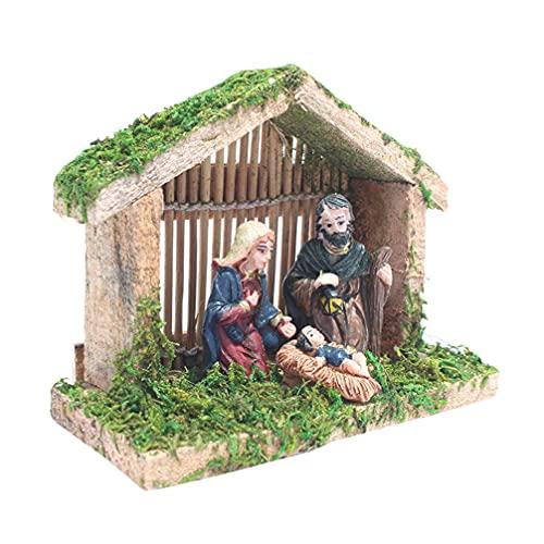 Amosfun Puppenhaus Holzkrippe Spielset Krippen Figuren Weihnachtskrippe Krippen Szene Figur...