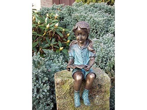 H. Packmor GmbH Bronzefigur sitzendes Mädchen mit Buch Gartendekoration Dekorationsfigur