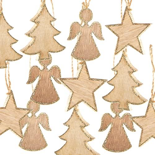 Logbuch-Verlag 12 Weihnachtsanhänger aus Holz natur gold - Stern + Baum + Engel - natürlicher...