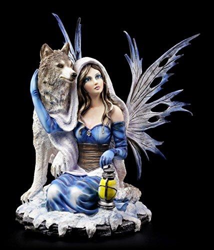 Elfen Figur kniet bei Wolf - Feen Wölfe Deko Fantasy Elfenfigur Winter