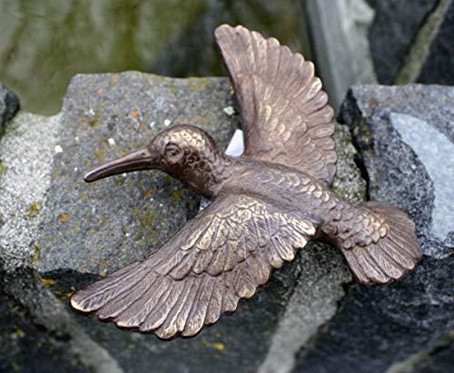 H. Packmor Bronzeskulptur Türklopfer Kolibri - Dekoration für Haus und Garten - 18x17x5 cm