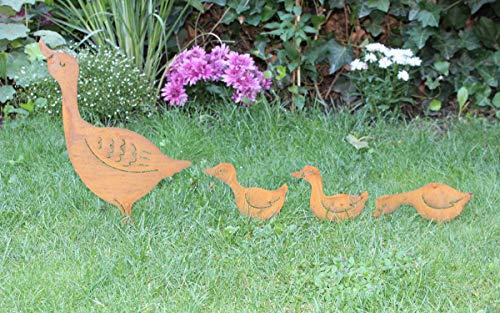 LB H&F 4 x Gartenstecker Gans Familie Gartendeko Beetstecker Metall