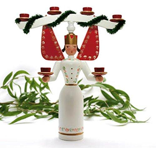 Erzgebirgische Figur Lichterengel mit Joch 22cm NEU Weihnachtsfigur Tischdeko Engel