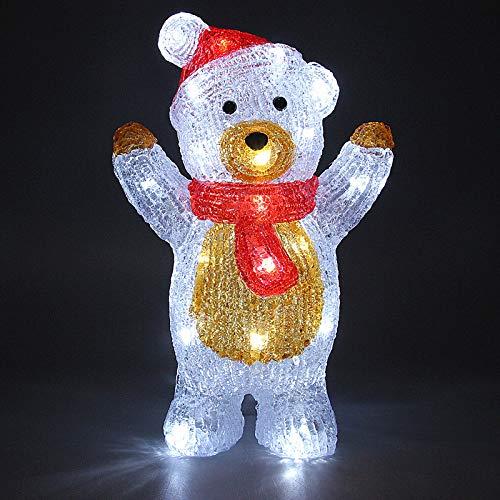 Deuba LED Acryl Figur Weihnachtsdeko Beleuchtung Weihnachten Teddy stehend Indoor Outdoor