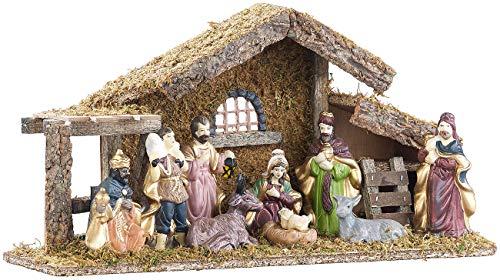 Britesta Krippe: Hochwertige Holz-Weihnachtskrippe, große handbemalte Porzellan-Figuren (Krippe mit...