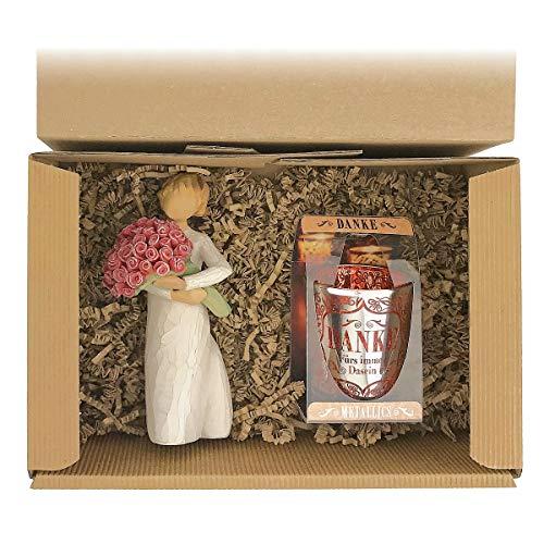 Geschenkset 2-teilig/Willow Tree Figur zur Auswahl/Windlicht zur...