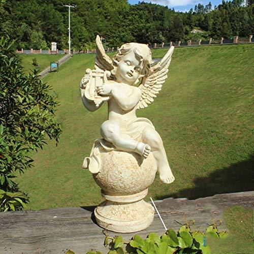NGXL Harz Entzückende Engel Statue, Garten-Engels-Skulptur, Handwohnkultur Figürchen Für Rasen...