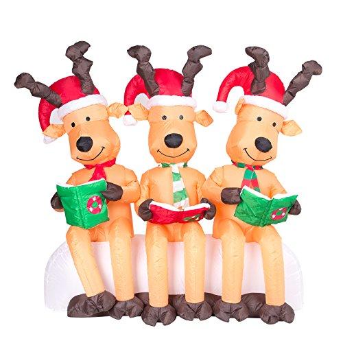 Pridea DREI große Rentiere lesend mit Weihnachtsmützen 150cm Weihnachtsdeko groß selbstaufblasend...