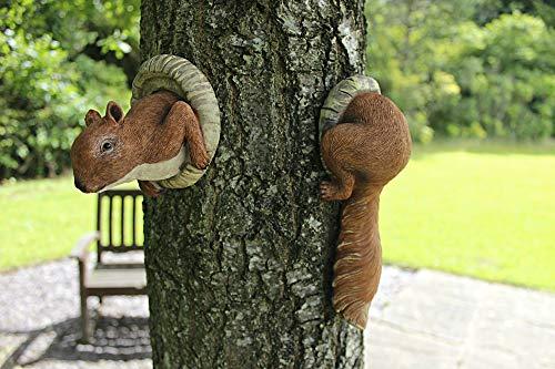 garden mile® Roter Eichhörnchen für den Garten, Tier-Baum, Gartendekoration, Gartenskulptur,...
