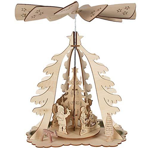 OBC Weihnachtspyramide/in Tannenform Natur gelasert/mit Teelichthaltern/Pyramide Weihnachten/im...