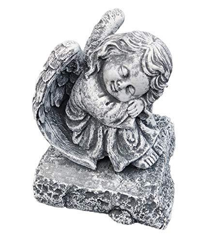 Stone and Style Steinfigur Engel auf Fels sitzend, massiver Steinguss, Frost- und wetterfest bis...