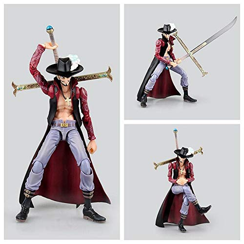 QTRT ONE Piece Dracule Mihawk Movable PVC Anime Cartoon Game Character Modell Statue Figur Spielzeug...