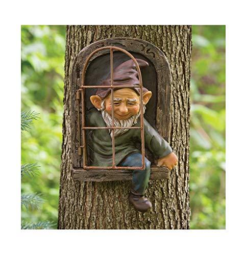 KPNG Gartenzwerge wetterfest Garten GNOME Statue, GNOME Baum Fensterharz Garten Figuren, Baum...