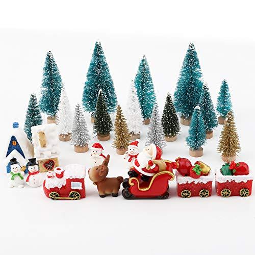 FORMIZON 34 Stücke Weihnachten Miniatur Ornamente, Miniatur-Ornament-Set, Weihnachtsbaum Schneemann...