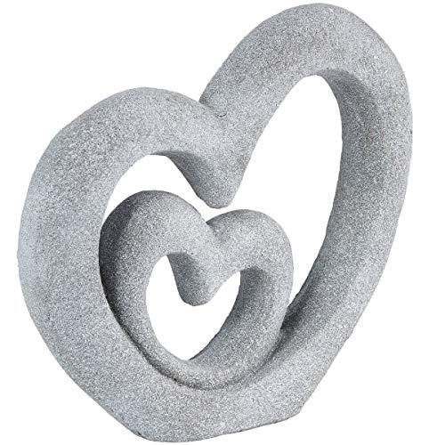 TRI Skulptur Herzen, 2 verschlungene Herzen, Deko-Herz-Skulptur Deko-Figur, wetterbeständig,...