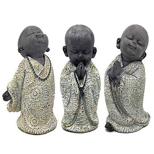 RM E-Commerce Buddha Figuren Garten, kleine Mönche 3er Set, Deko Statuen 13 cm, Feng Shui...