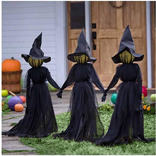 Okssud 3Pcs Hexendekoration Halloween, Visiting Light-Up Witches with Stakes, Wasserdichtes...
