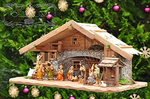 Große Weihnachtskrippe, mit Brunnen + Dekor, ca. 60 cm Massivholz historisch braun komplett mit...