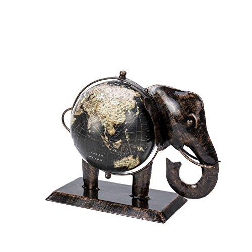 Schwarzer Vintage-Globus im Elefanten-Motiv, Fair-Trade-Produkt, 20 x 10x 20 cm