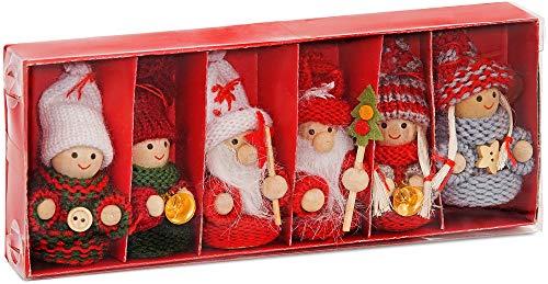 BRUBAKER 6-teiliges Set Weihnachtswichtel aus Holz und Strick Baumanhänger Weihnachtsanhänger 8 cm...
