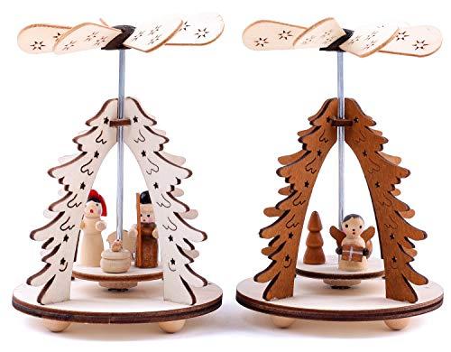 Brubaker 2er Set Weihnachtspyramide Tannenbaum - 2 Motive: Engel/Christi Geburt mit Maria, Josef und...
