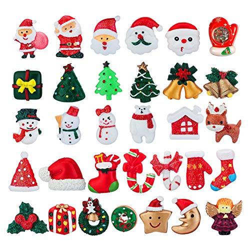 MELLIEX 32 Stück Weihnachten Mini Figuren, Harz Weihnachten Miniatur Weihnachtsminiatur Ornamente...