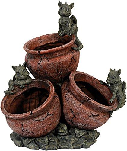 Gartendrache mit Blumentopf 3fach Drache Figur Gargoyle Garten Figur