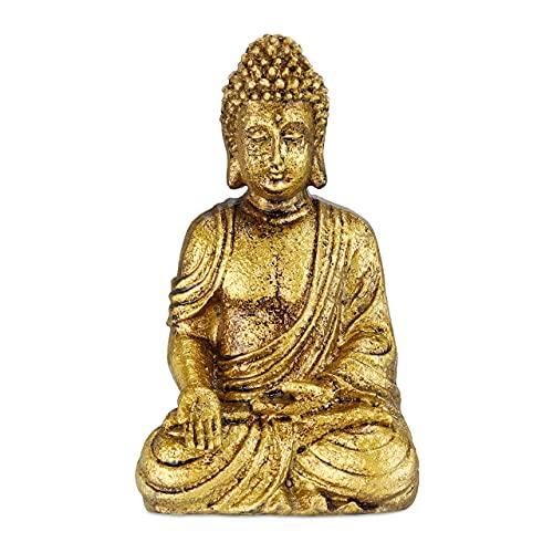 Relaxdays Buddha Figur Garten, wetterfest & frostsicher, Gartenbuddha sitzend, Gartenfigur, HxBxT:...