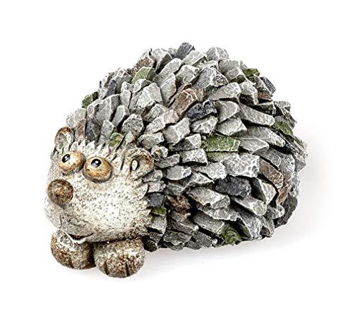 Deko Figur Gartenfigur Igel 15 cm lang, Polystein Stein Optik grau, Dekofigur Igelchen zum...