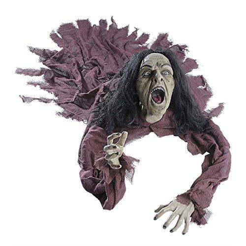 NET TOYS Zombie Figur mit Leuchtaugen und Sound Untoter Dekoration 140 cm Zombiepuppe Zombie Puppe...
