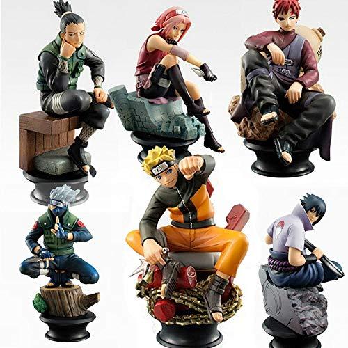 cheaaff 6 Stück/Set Naruto Actionfiguren PVC Modell Spielzeug Anime Naruto Figur Sasuke Gaara...