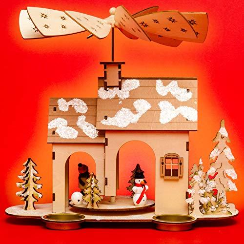 Sikora P32 Holz Teelicht Weihnachtspyramide WINTERHAUS