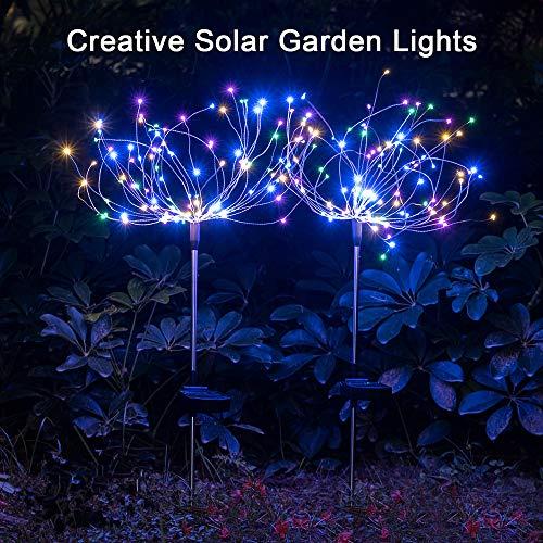2 x Solar Feuerwerk Licht 120LED Solarleuchte Garten Wasserdicht IPX7, 40Kupferdrähte...
