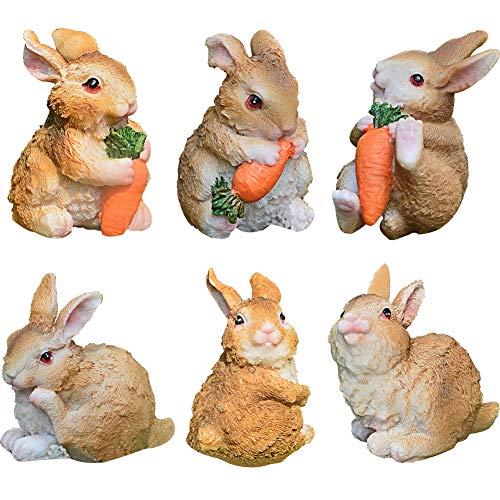 Set Kaninchen aus Polyresin ZSWQ-Garten Yard Büro Dekoration,Mini Häschen Karotte Dekoration für...