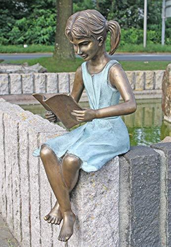 Unbekannt Bronzeskulptur Mädchen mit Buch - Dekoration für Haus und Garten - 28x66x26 cm