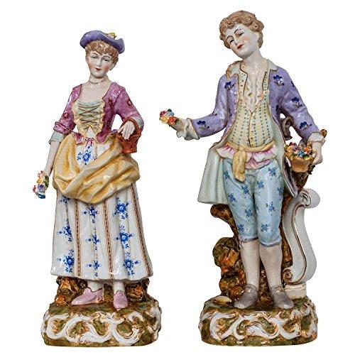 Skulptur Figur Kunst Frau Mann Porzellan Antik-Stil 37cm