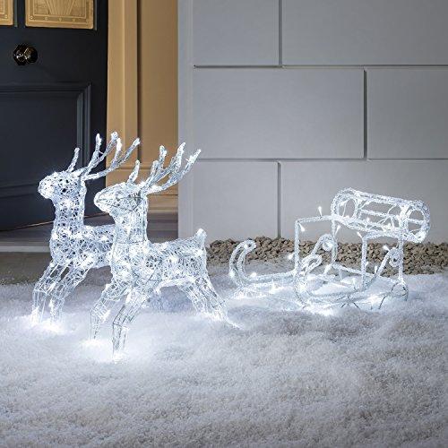 LED Acryl Weihnachtsfigur Rentiere mit Schlitten weiß Innen Außen Lights4fun
