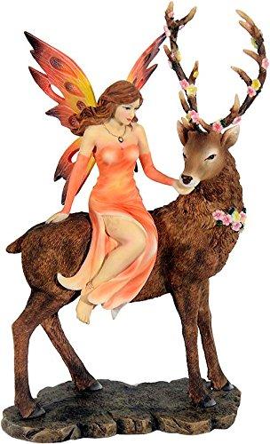 Mayer Chess by MystiCalls Wunderschöne große Elfenfigur Elfe sitzt auf Hirsch Figur Tiere Sommer