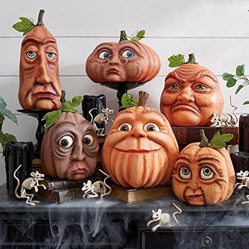 6 Stück Halloween Kürbisfamilie Ausdrucksstarke KüRbisfamilie Halloween KüRbis Figuren Halloween...