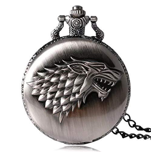 Féeries et Wonderes Taschenuhr Wolf Game of Thrones, Game of Thrones Haus Stark (HT 6 x 4,5 cm),...